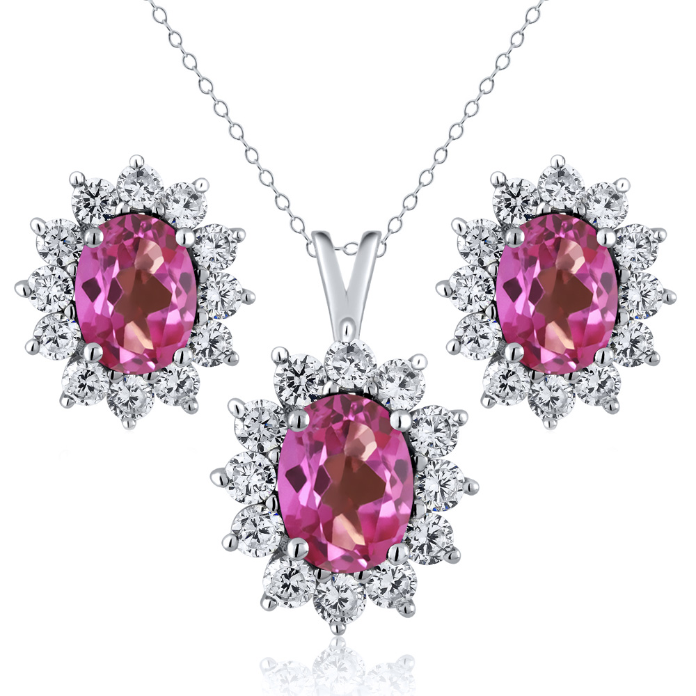 2.90 Ct Oval Pink Mystic Topaz 925 Sterling Silver Pendant Earrings Set by
