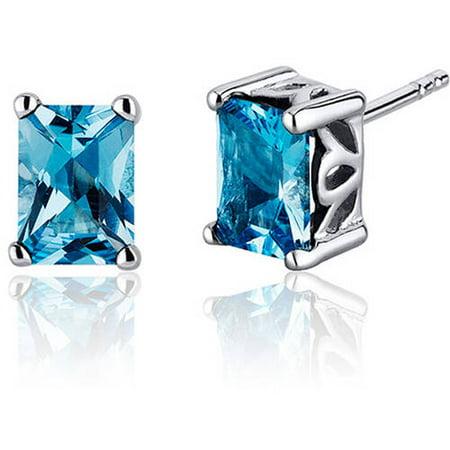 2.00 Carat T.G.W. Radiant-Cut Swiss Blue Topaz Rhodium over Sterling Silver Stud Earrings