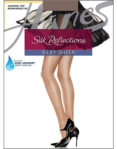 Hanes Silk Reflections Control Top, Reinforced Toe Pantyhose 4-Pack