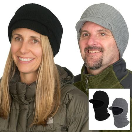 Smead 2' Cap - Evelots 2 in 1 Winter Hat-Face Mask-Unisex-Windproof-Ski-(Black & Grey)-Set/2