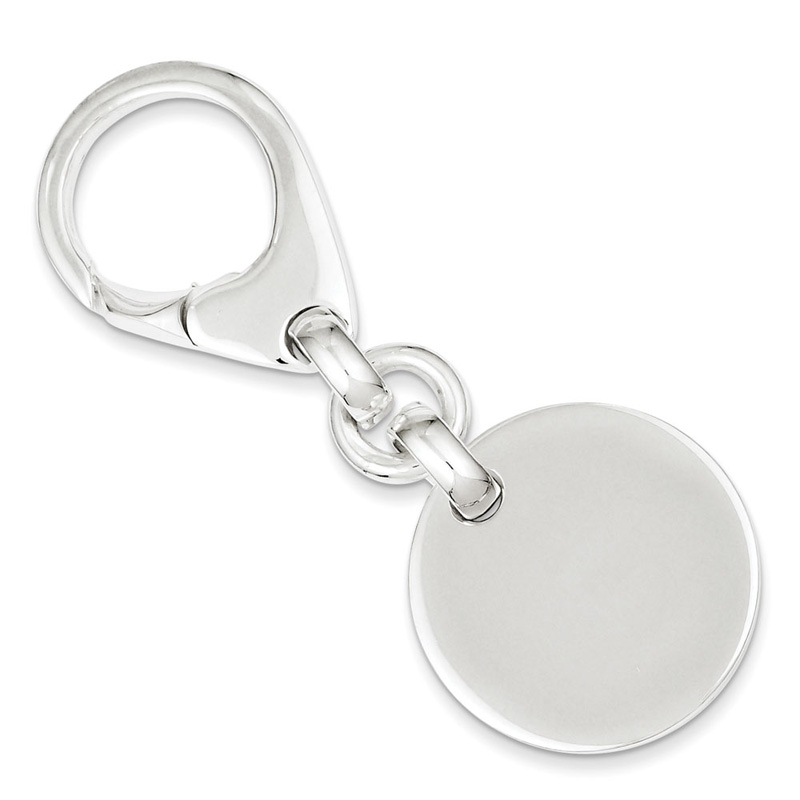 Sterling Silver Solid Polished Engravable Round Key Ring 26.0 Grams by Kevin Jewelers