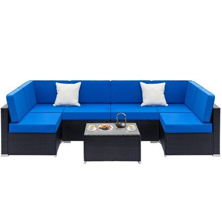 Zimtown 7PCS Outdoor Patio Garden Furniture Sectional PE Rattan Wicker Rattan Sofa Set with Blue Cushions ()