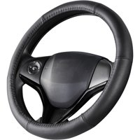 Auto Drive Black Leather Universal Fit Steering Wheel Cover
