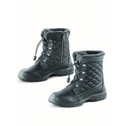 Totes Quilted and Faux Fur Lined Waterproof Winter Boot with Thermal Insulated Footbed - Snow Gear Essentials, 7, Black