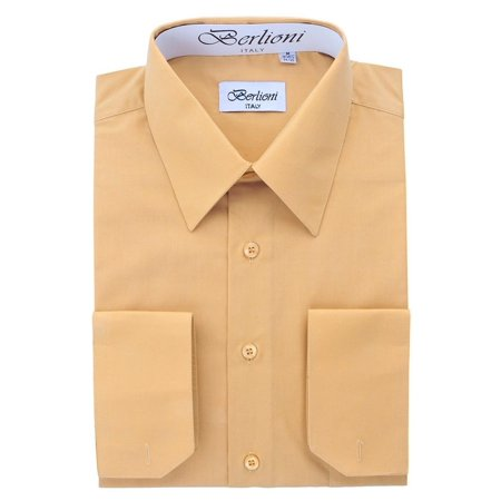 Berlioni Italy Men's Convertible Cuff Solid Long Sleeve Dress Shirt
