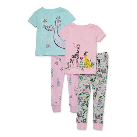 Wonder Nation Toddler Girl Snug Fit Cotton Short Sleeve Pajamas, 4pc Set