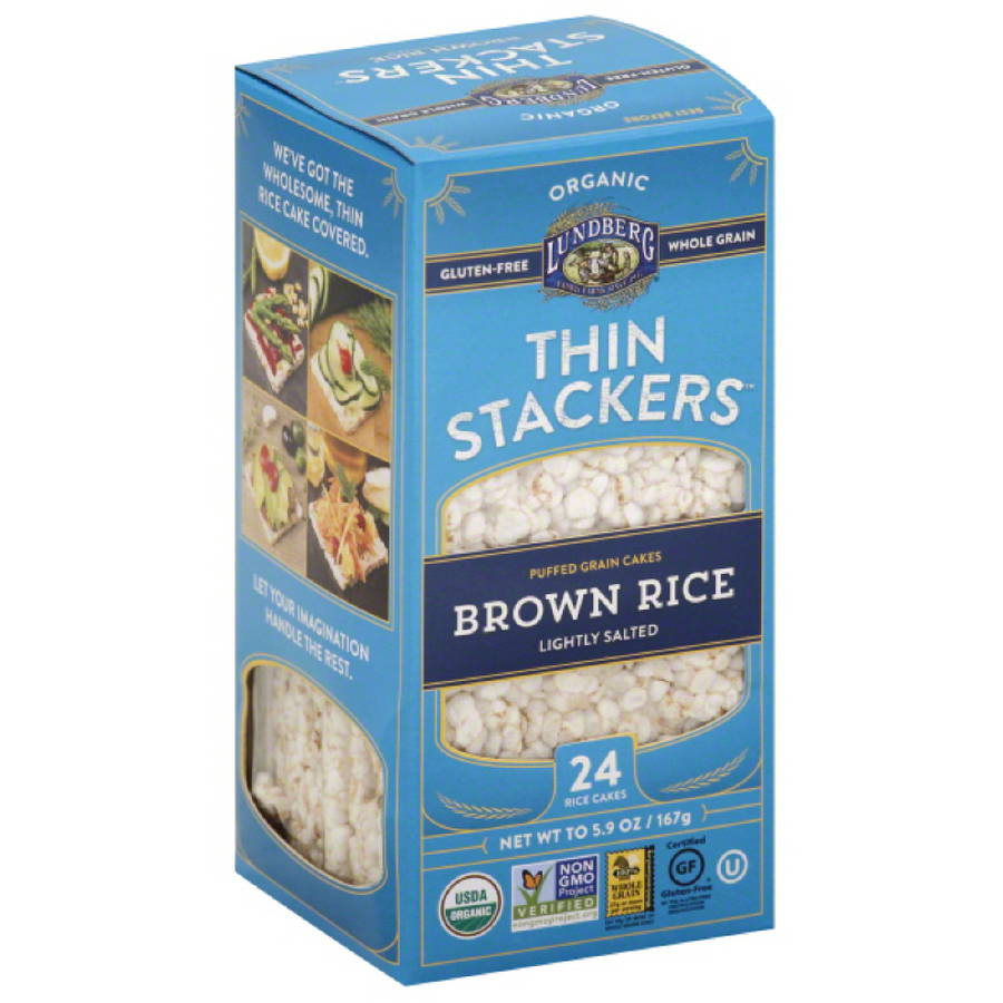 Lundberg Organic Thin Stackers Rice Brown Salted Lightly
