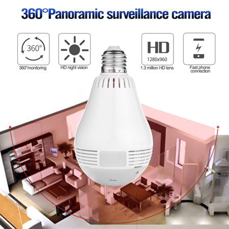AGPtek Mini Wifi Security Camera Light Bulb 360 degree Panoramic 960P  Hidden Security IP Camera