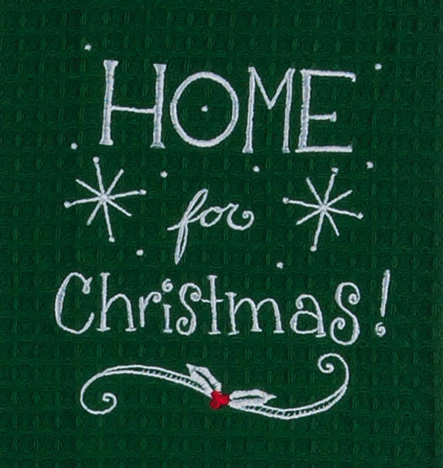 Home for Christmas Embroidered Waffle Holiday Green Kitchen Dish Towel Kay Dee