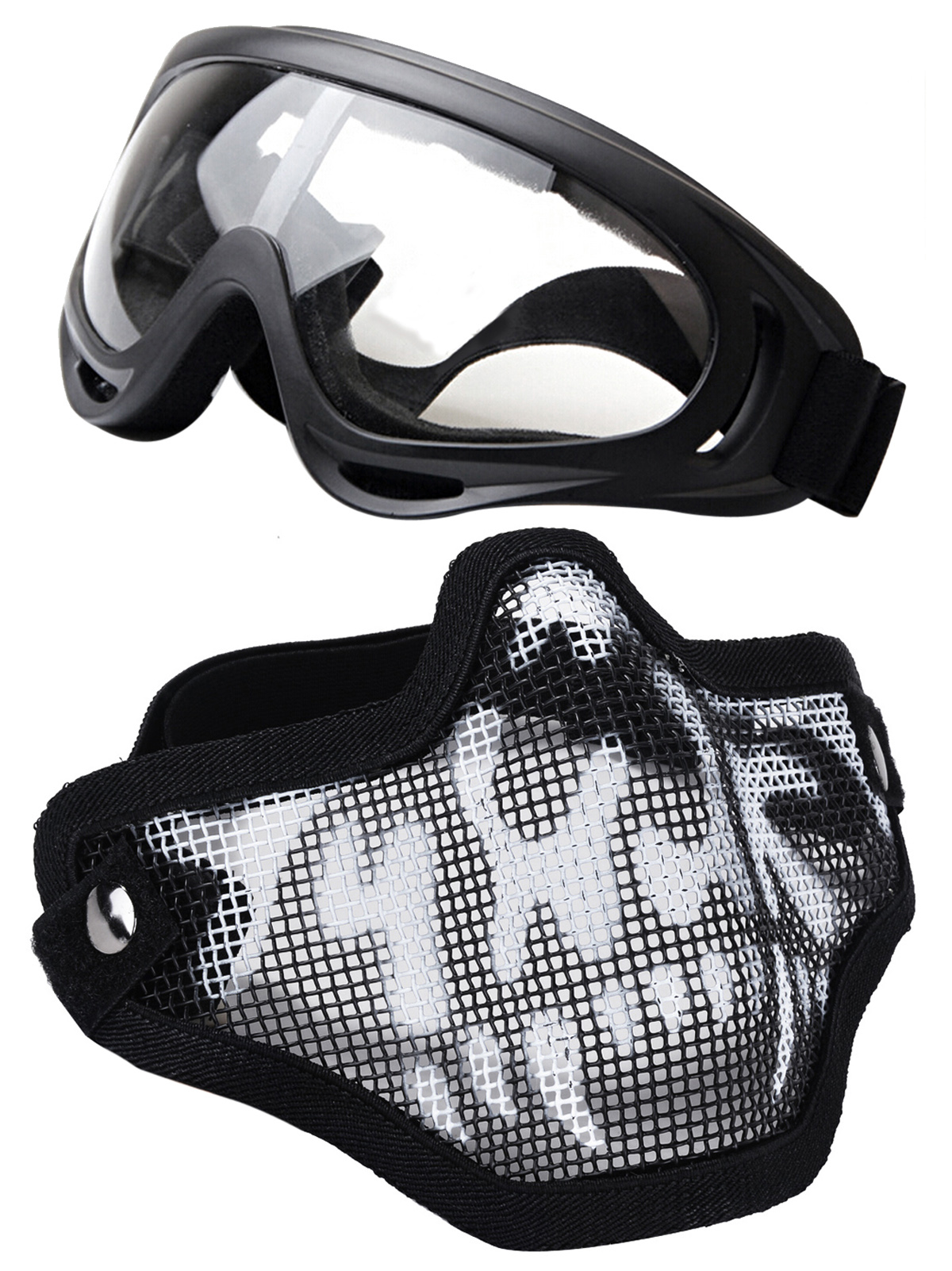 Outgeek Tactical Equipment Paintball Half Face Steel Mesh Mask and Goggles Set (Black & White) by Outgeek