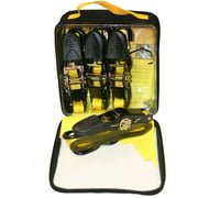 """1"""" x 10' Ratchet Tie-Down, 300 lbs Working Load Limit, S-Hook, 4pk, Pouch"""