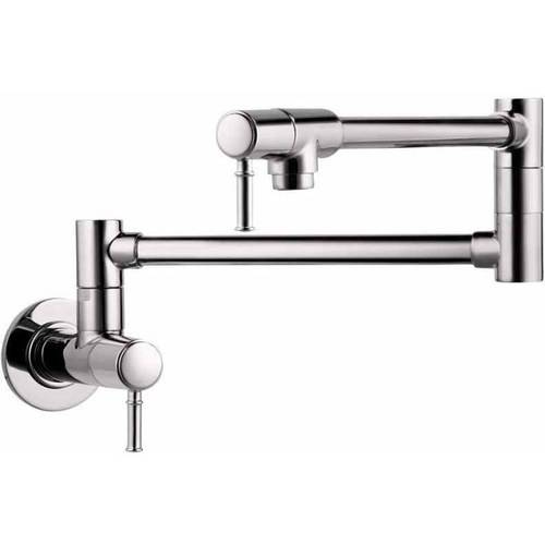 "Hansgrohe 04218830 Talis C Wall-Mounted Pot Filler Faucet with 25"" Double-Jointed Swinging Spout, Various Colors"