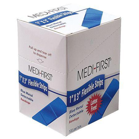 MEDI-FIRST 68033 Metal Detectable Bandages,Blue,PK 100