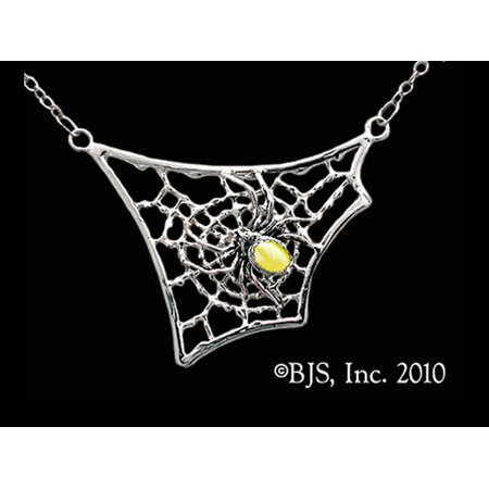 Spider With Gemstone Abdomen on Web Necklace Symbol of Creative Intuition with Yellow Fiber Eye Gemstone Made of Sterling Silver (Jewel Spider)