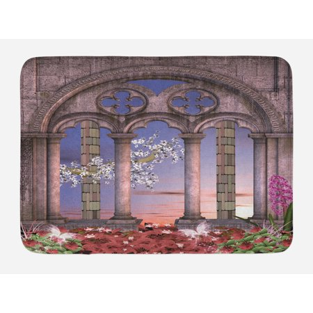 Gothic Bath Mat, Ancient Colonnade in Secret Garden with Flowers at Sunset Enchanted Forest, Non-Slip Plush Mat Bathroom Kitchen Laundry Room Decor, 29.5 X 17.5 Inches, Grey Blue Lilac Red, Ambesonne