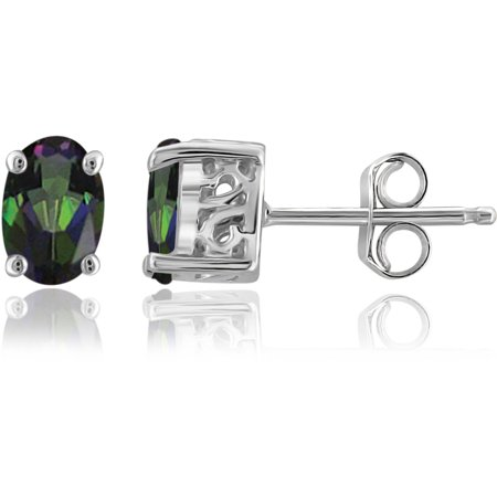 1.00 Carat T.G.W. Mystic Topaz Sterling Silver Earrings