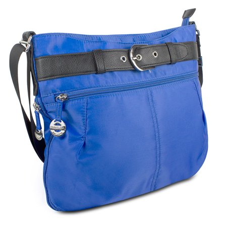 Travelon Nylon Adjustable Hobo with Belt Detail, Dazzle Blue- XSDP -42890-340-QV40-01 - Get a fun, youthful bag ideal for everyday use or travel with the Travelon Nylon Adjustable Hobo with Belt