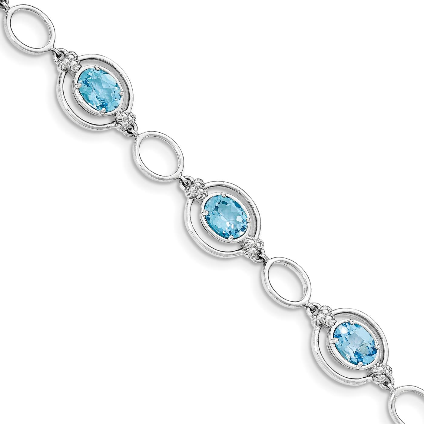 "Ladies Womens 925 Sterling Silver Lt. Swiss Blue Topaz Open Link Bracelet 7.5"" by Fusion Collections"