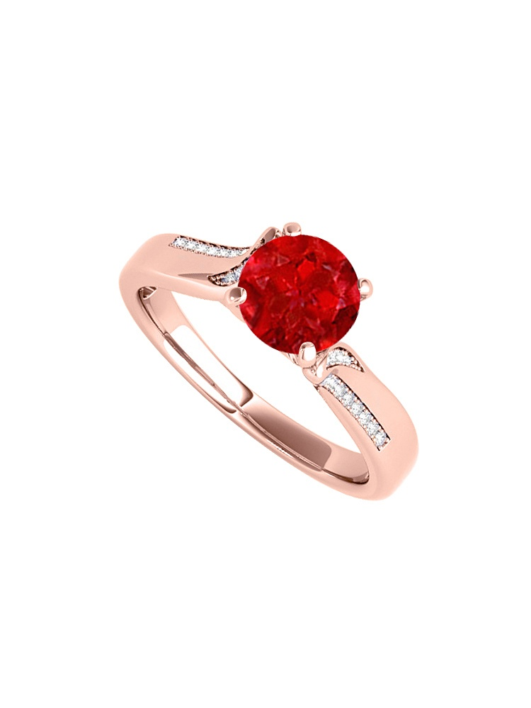 Cubic Zirconia Ruby Engagement Ring in 14K Rose Gold by Love Bright