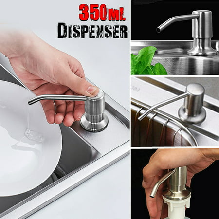 350ml Bathroom Soap Dispenser Kitchen Sink Liquid Lotion Refillable Brushed Nickel Stainless Steel Head Bottle For Home
