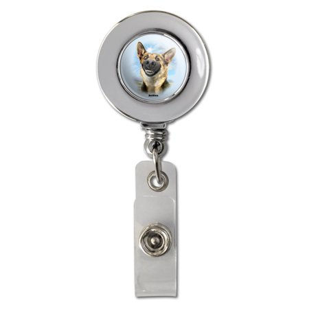 German Shepherd Dog Selfie Retractable Reel Chrome Badge ID Card Holder Clip (Dog Card Holder)