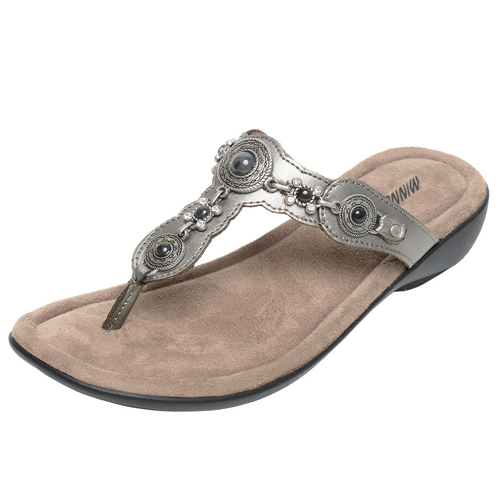 Minnetonka Womens Boca Thong lll Pewter Leather Sandal by MINNETONKA