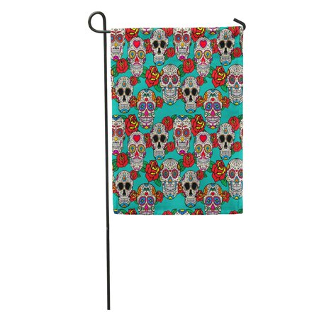 KDAGR Colorful Sugar Skulls and Roses Dia De Los Muertos Dead Garden Flag Decorative Flag House Banner 12x18 inch](Dia De Los Muertos Flags)