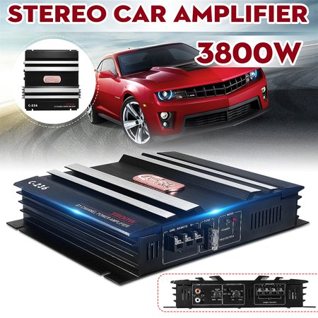 - 3800 Watt 12V 2 Channel 4 Ohm Car Audio High Power Amplifier Bass Amp Class A Aluminum For Auto Motorcycle Home + LED Power Indicator