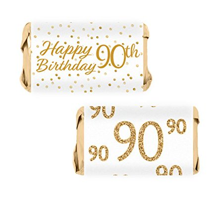 White and Gold 90th Birthday Party Mini Candy Bar Wrapper Stickers, 54 Count](90th Birthday Balloons)