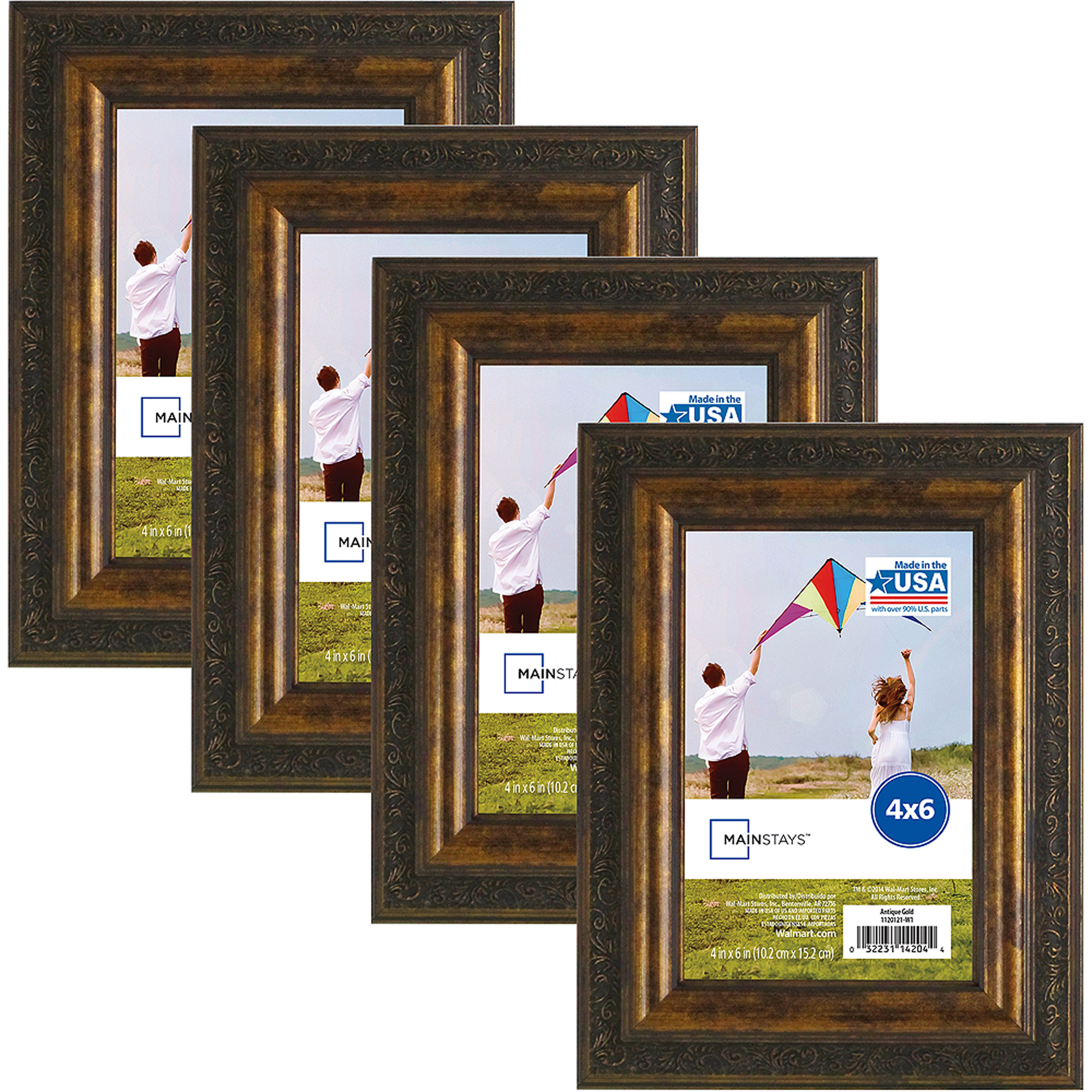 mainstays antique gold frame set of 4 multiple sizes available walmartcom