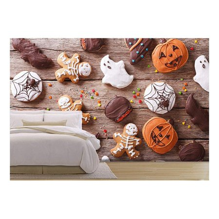 wall26 - Festive Gingerbread Halloween on the Table. Horizontal View from above - Removable Wall Mural | Self-adhesive Large Wallpaper - 100x144 inches