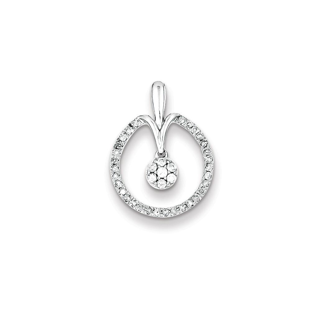 Sterling Silver Rhodium Plated Diamond Circle Pendant. Carat Wt- 0.24ct