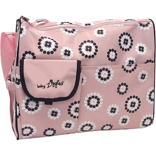 Baby Ziggles Trendy Firework Print Design Diaper Bag, Pink/Brown