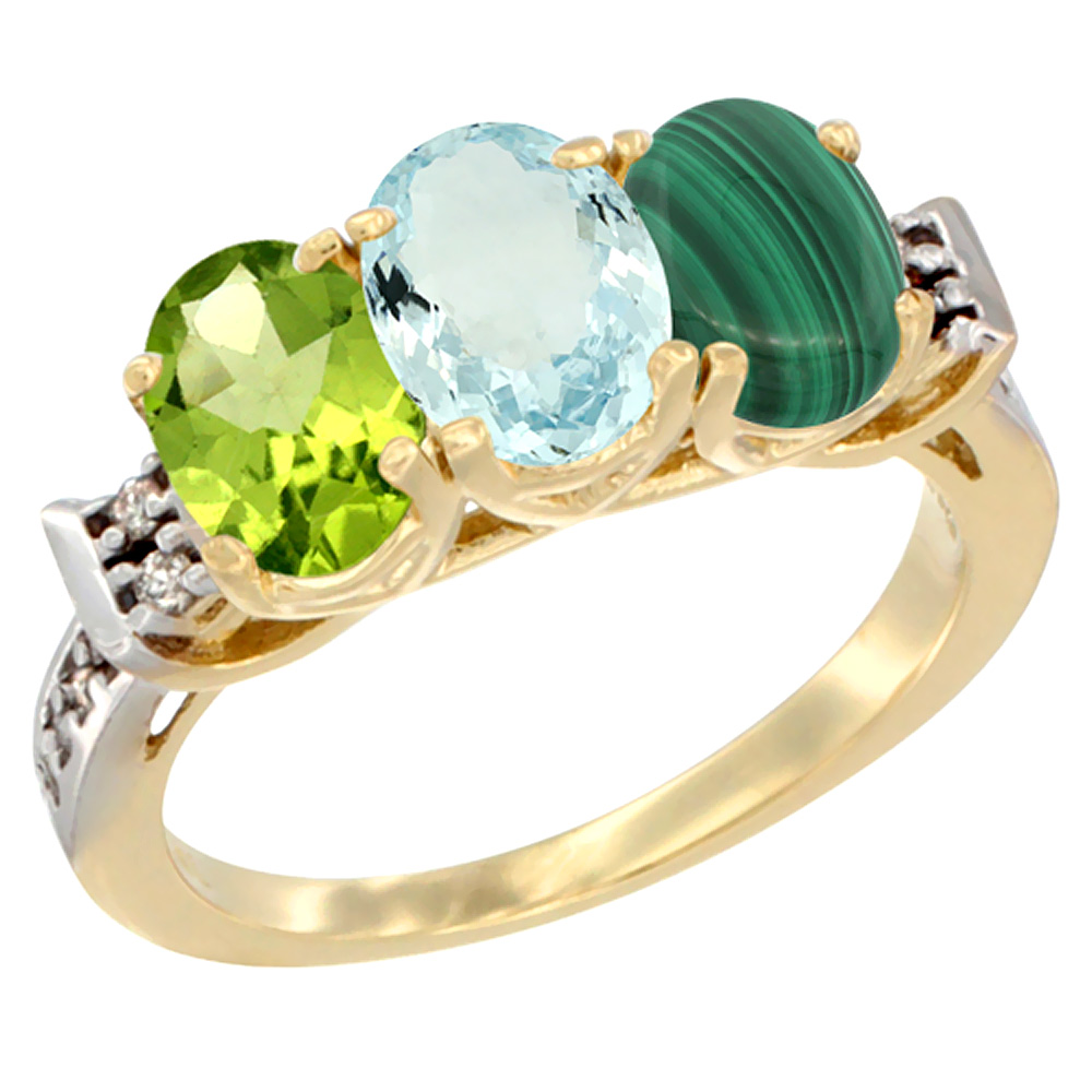 10K Yellow Gold Natural Peridot, Aquamarine & Malachite Ring 3-Stone Oval 7x5 mm Diamond Accent, sizes 5 10 by WorldJewels