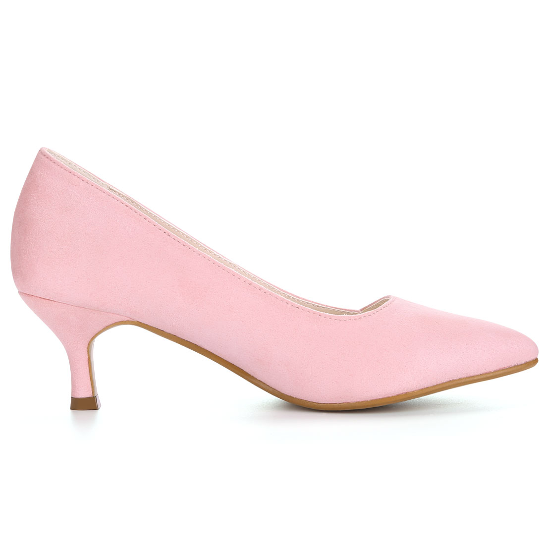 HF-27 Women Pointed Toe Mid Stiletto Heel Pumps Pink/US 9.5 - image 4 of 7