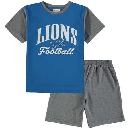 Detroit Lions NFL Pro Line by Fanatics Branded Toddler Two-Piece Victory Script T-Shirt and Short Set - Blue/Heathered Gray