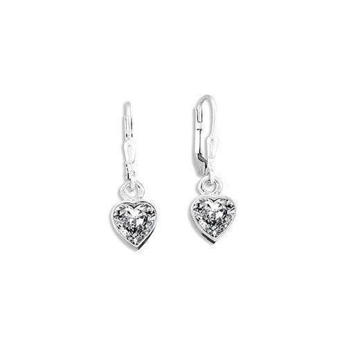 Sterling Essentials Sterling Silver 8.5mm Cubic Zirconia Heart Drop Earrings