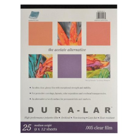 P05DC0912 Clear .005 Dura-Lar Film, 9-Inch by 12-Inch, 25 Sheets, 0.005 Clear Film, 25 Sheet Pad, 9x12 By -