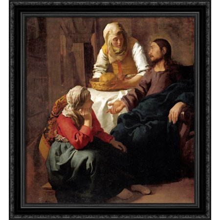 Christ in the House of Martha and Mary 28x32 Large Black Ornate Wood Framed Canvas Art by Johannes Vermeer