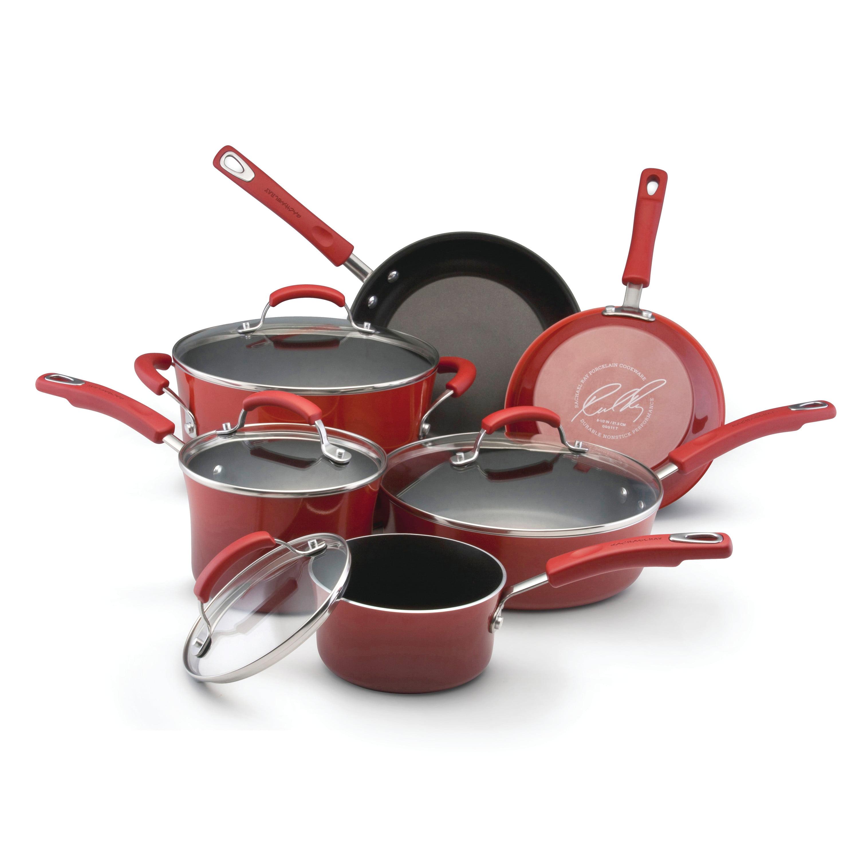 Rachael Ray 10-Piece Porcelain Enamel Non-Stick Cookware Set in ...