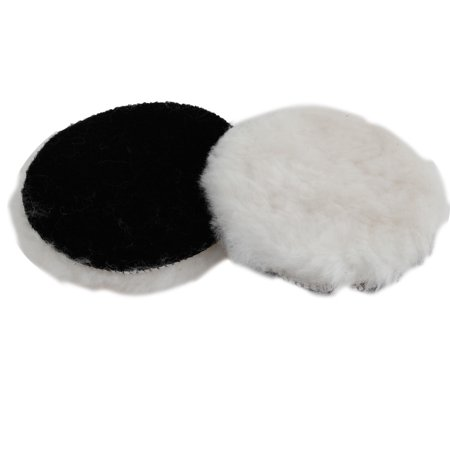 Unique Bargains 2 Pcs Rounded Shaped Soft Faux Wool Polishing Buffing Pad Buffer 125mm Diameter