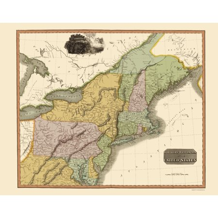Old State Map - Northeastern United States - Thomson 1817 - 23 x 29.03
