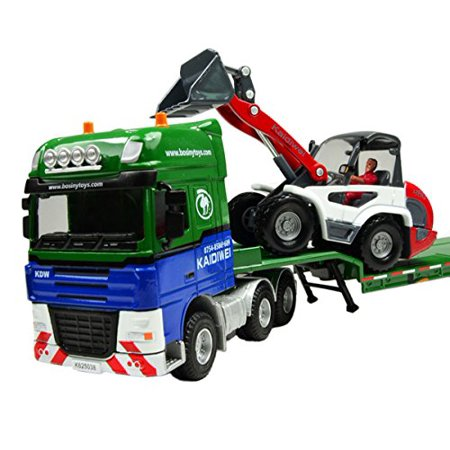 Happy Cherry 150 Scale Equipment Alloy Trailer Moveable Model Semi Truck with Skid Steer Loader Toy Vehicle Green - image 1 of 1