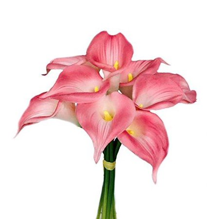 9 Blooming Large Calla Lily With Long Stem Beautiful Keepsake Artificial Flower (PINK)