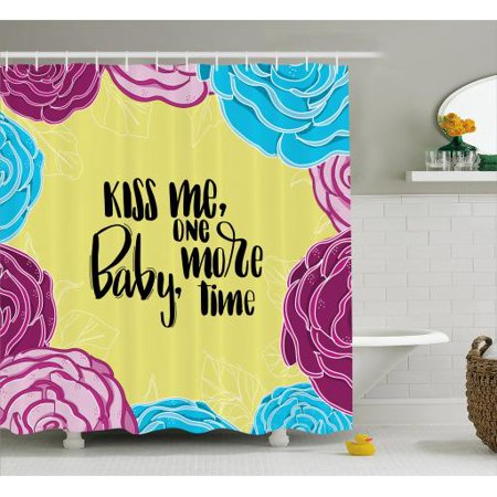Kiss Me Shower Curtain, Romantic Quote with Floral Frame Hand Drawn  Calligraphy Spring Love Valentine's Day, Fabric Bathroom Set with Hooks,  69W X 70L
