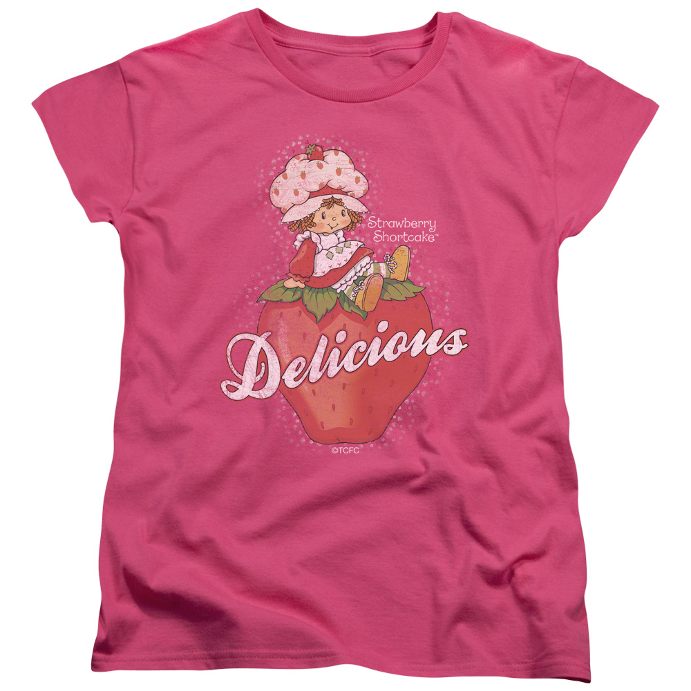 STRAWBERRY SHORTCAKE/DELICIOUS - S/S WOMEN'S TEE - HOT PINK - XL