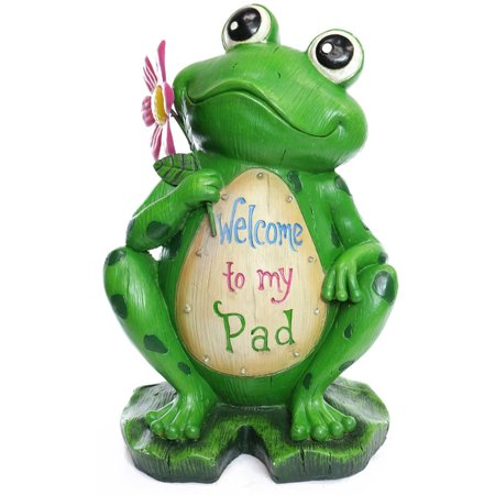Garden Art Statuary - Alpine Welcome to my Pad' Frog Statuary, 18 Inch Tall