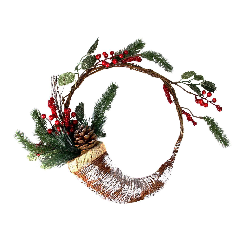 Northlight 14 diam. Frosted Cornucopia Unlit Christmas Wreath