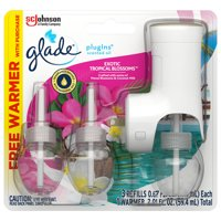 Glade PlugIns 1 Warmer + 3 CT Refill Starter Kit, Exotic Tropical Blossoms, 2.01 FL. OZ. Total, Scented Oil Air Freshener