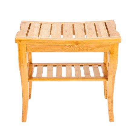 Zimtown Wooden Shower Stool Wood Bathroom Bench Seat Bamboo Bath Spa Sauna Chair Shelf ()